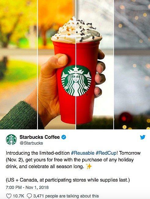 星巴克在Twitter上发布了圣诞限量杯的消息